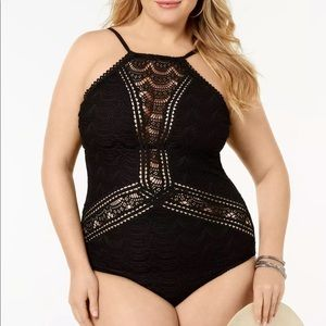 Becca Plus Crocheted Colorplay One Piece Swimsuit